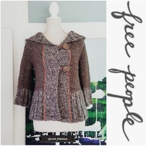 NWOT FREE PEOPLE BROWN GRAY & ORANGE HOODED CARDI